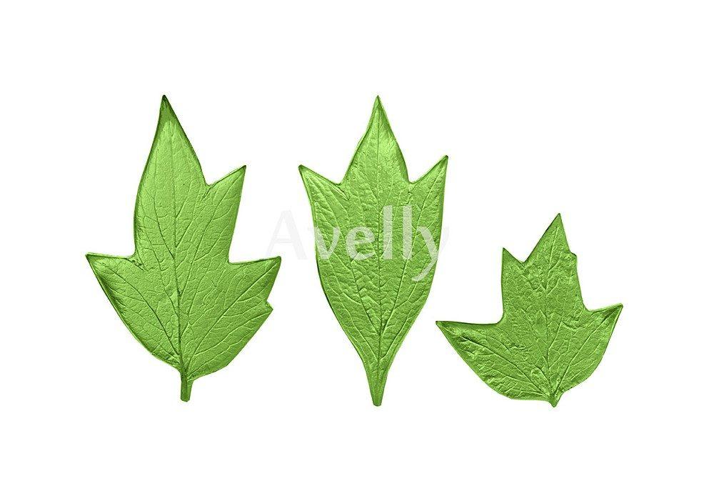 текстурный молд листья пиона, 3 шт