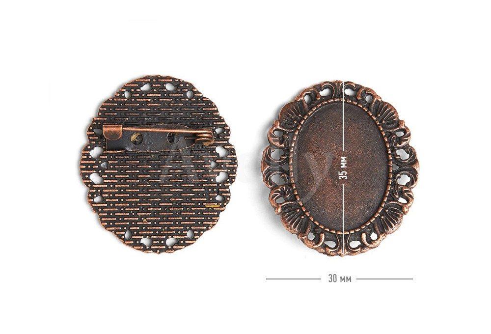 овальная основа для броши с ажурным краем античная медь