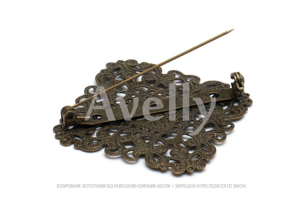 купить ромбовидную фурнитуру-основу для броши со скрытой булавкой античная бронза