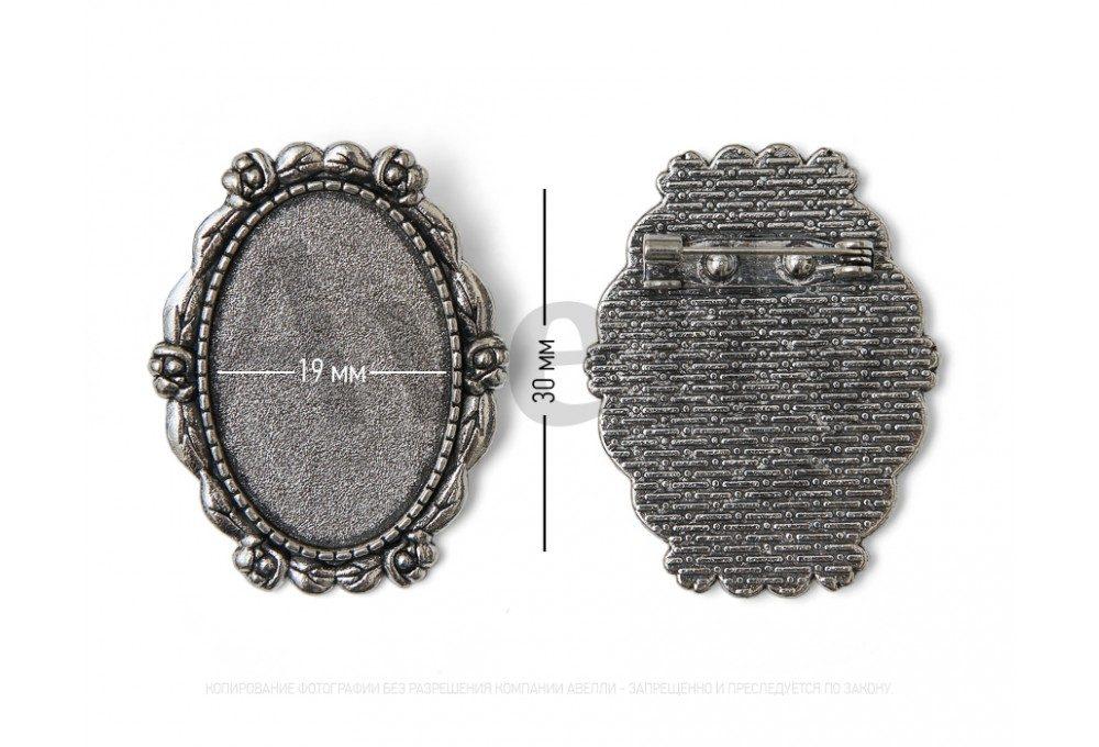 Овальная серебряная основа для броши