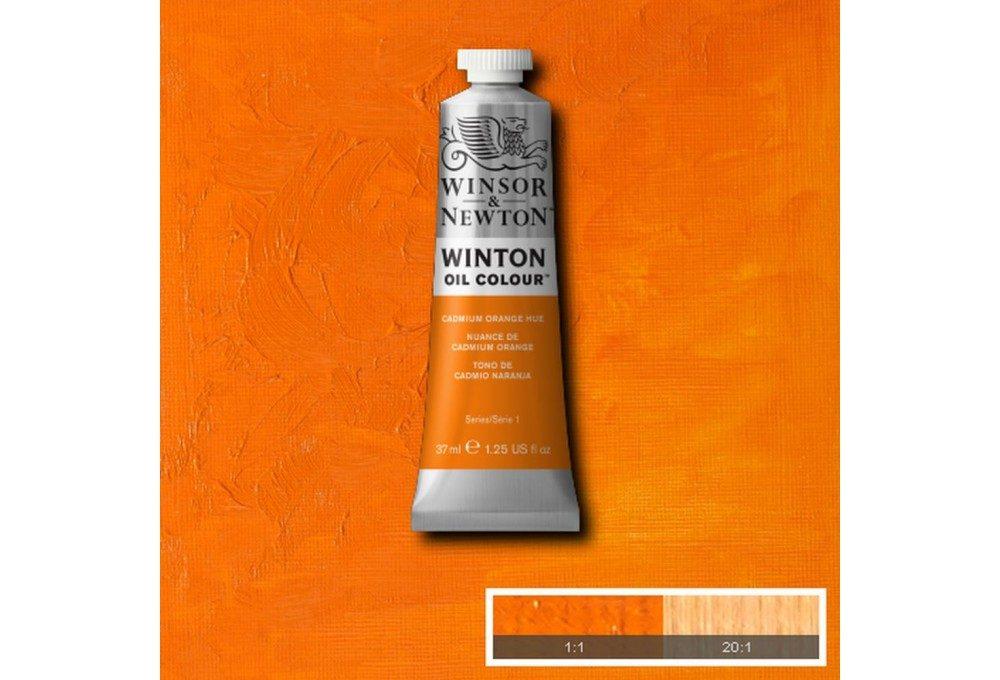 Выкраска масляной краски Winton Оранжевый кадмий (Cadmium orange hue)