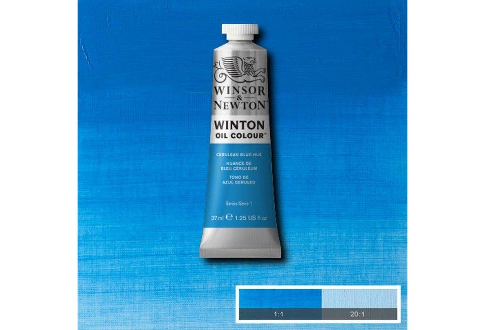 Выкраска масляной краски Winton Лазурь (Cerulean Blue Hue)