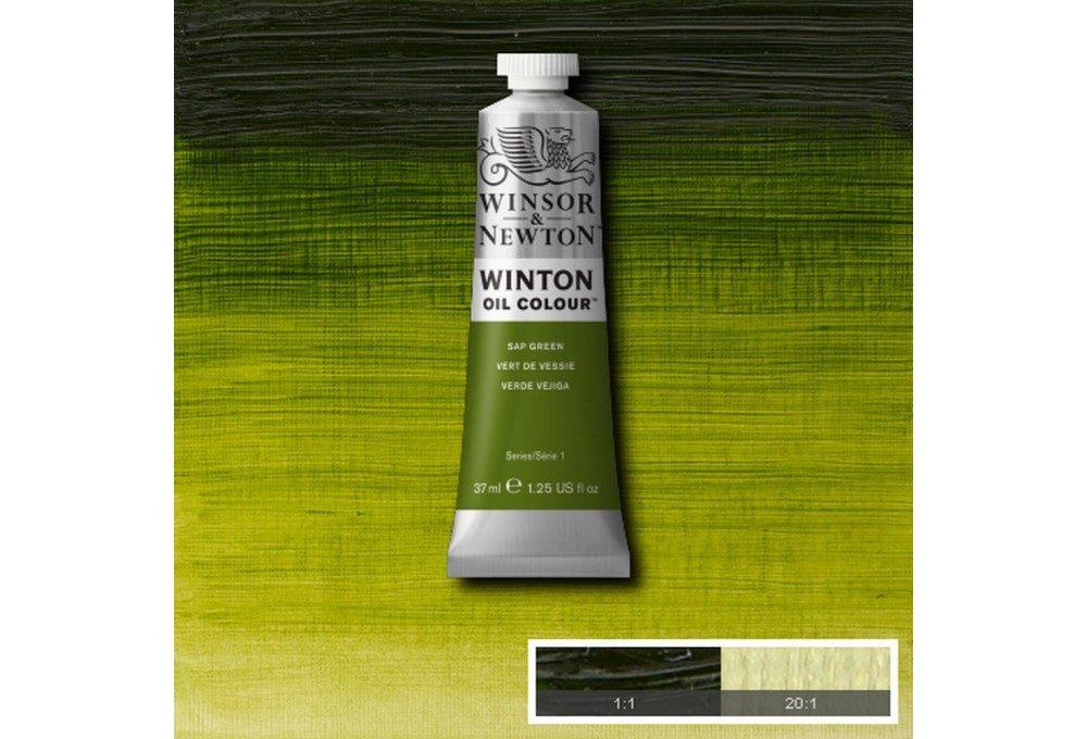 Выкраска масляной краски Winton Зеленая крушина (Sap green)
