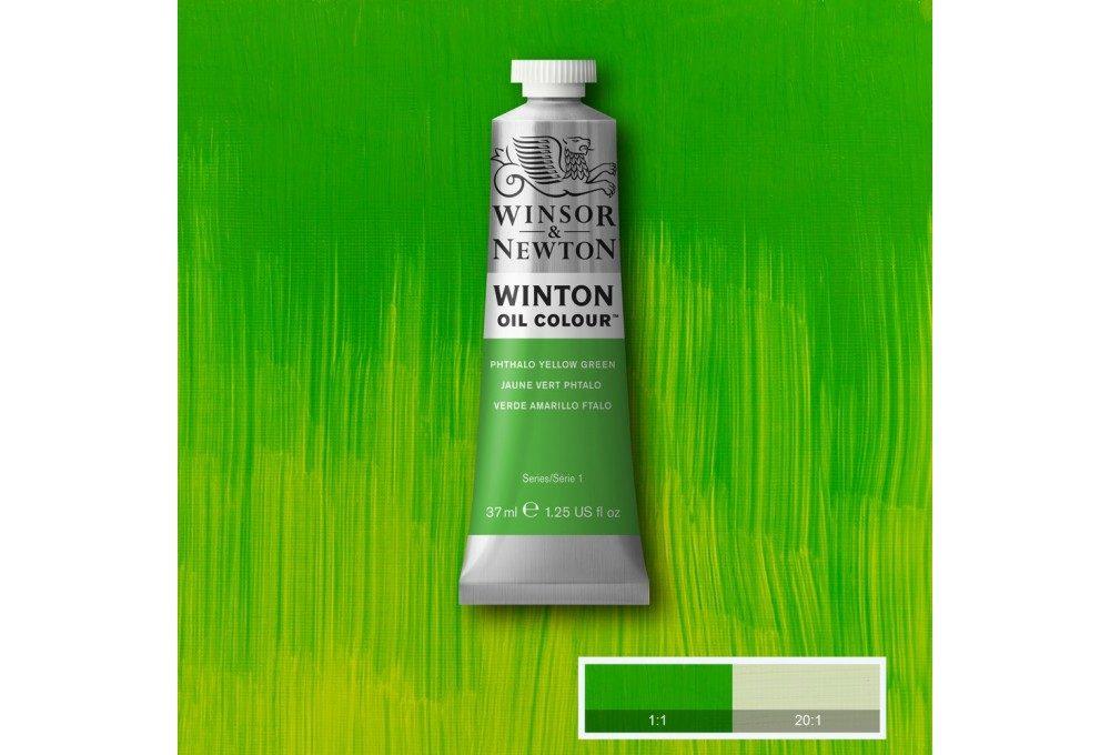 Выкраска масляной краски Winton Фтало желто-зеленый (Phthalo yellow green)