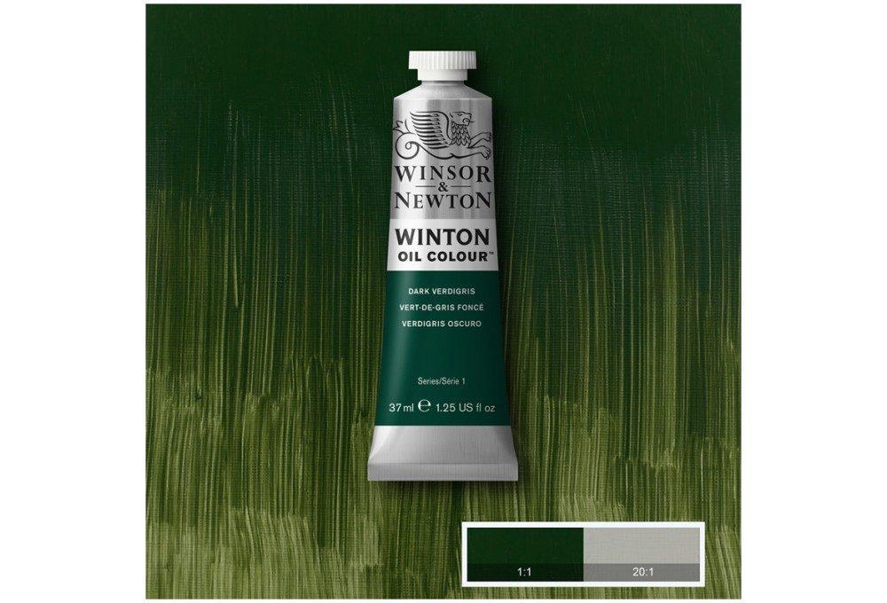 Выкраска масляной краски Winton Зеленая патина (Dark verdigris)