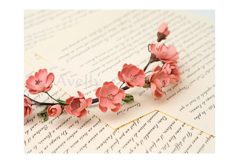 венок с цветами персика из корейского фоамирана