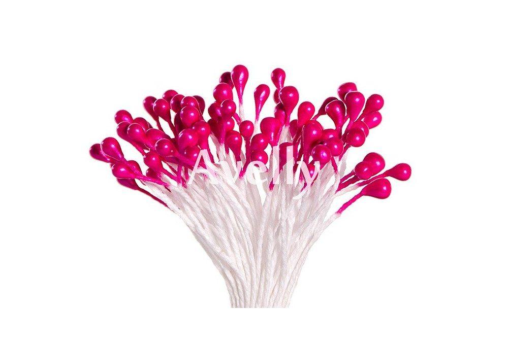 Тычинки для цветов насыщенно-розовые, перламутр