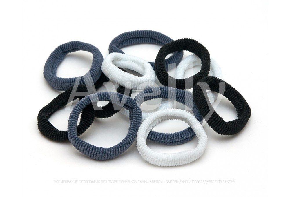 резинки для волос черные белые серые