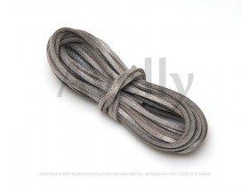 Замшевый шнур серый с блестками 3 мм, длина 5 метров