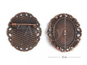 Овальная основа со скрытой булавкой и ажурным краем, цвет античная медь, 2 шт