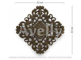 Ромбовидная ажурная основа со скрытой булавкой, цвет античная бронза, 1 шт