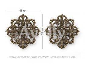 Квадратная ажурная основа со скрытой булавкой, античная бронза, 2 шт