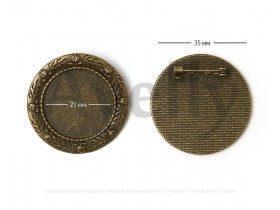 Круглая ажурная основа для броши, античная бронза, 2 шт