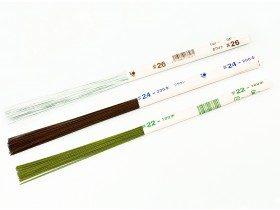 Японская проволока для цветов №28 в бумажной обмотке зеленая, 36 см, 200 шт