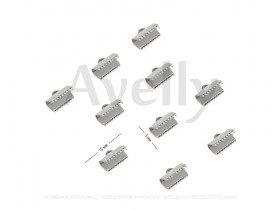 Концевики для лент 13*5 мм, серебро, 10 шт
