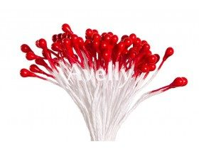 Тычинки для цветов красные, перламутр, 140 шт