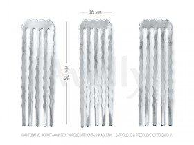 металлический гребень для тонких волос узкий, серебро