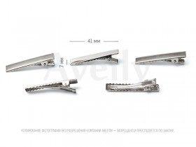 Заколка-крокодил прямоугольная 41 мм, цвет серебро, 5 шт