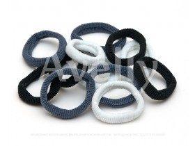 Резинка для волос в наборе (черные, серые, белые) 12 шт
